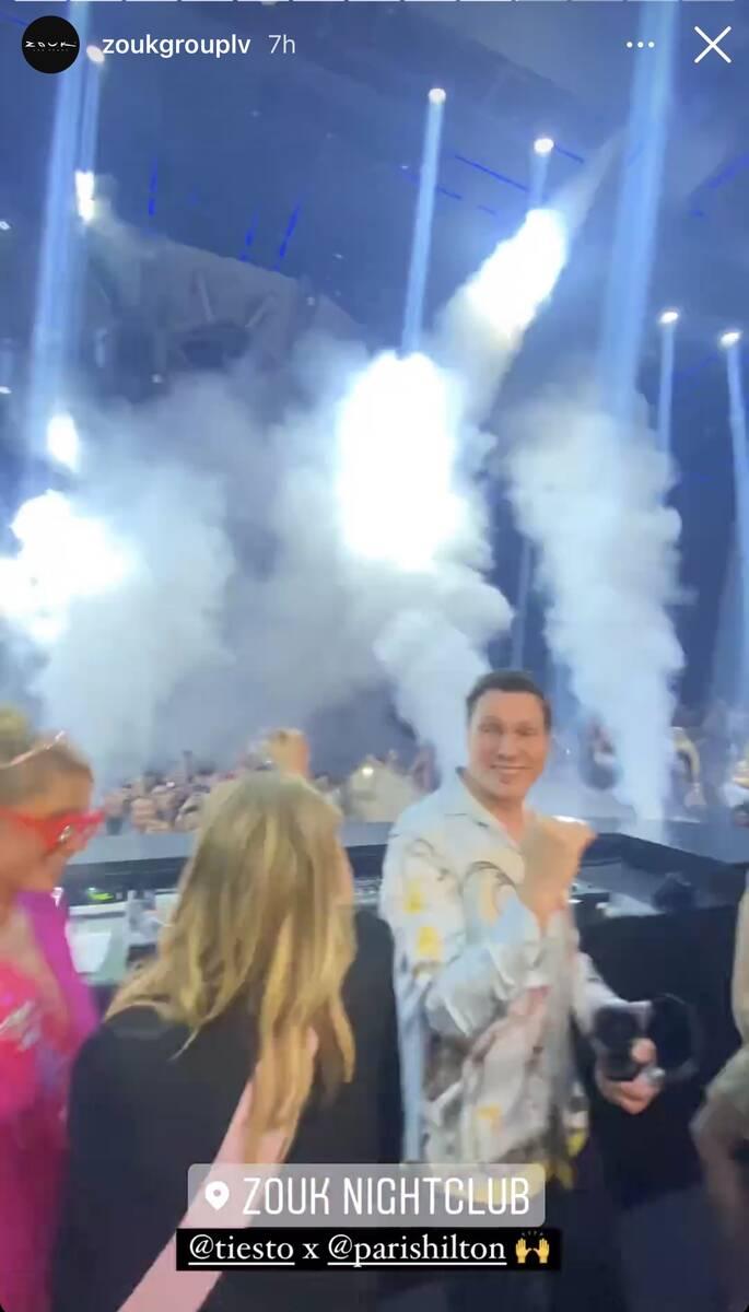 Tiesto's DJ booth is shown during the Paris Hilton-Carter Reum dual bachelor/bachelorette party ...