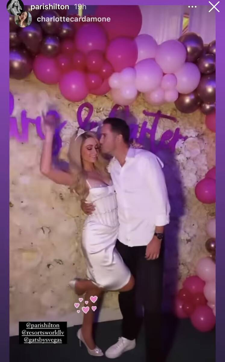 Paris Hilton and Carter Reum are shown during their dual bachelor/bachelorette party at Resorts ...
