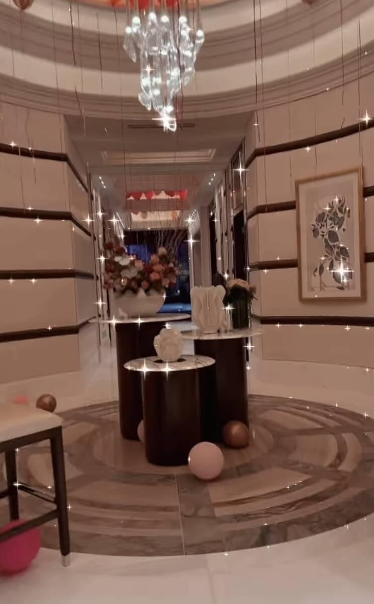 The decor at Resorts World Las Vegas for the Paris Hilton-Carter Reum dual bachelor/bachelorett ...