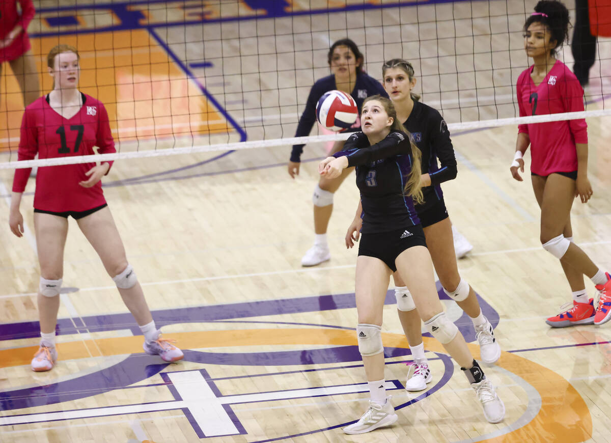 Silverado's Brooke Evans (3) sets the ball during a volleyball game at Bishop Gorman High Schoo ...