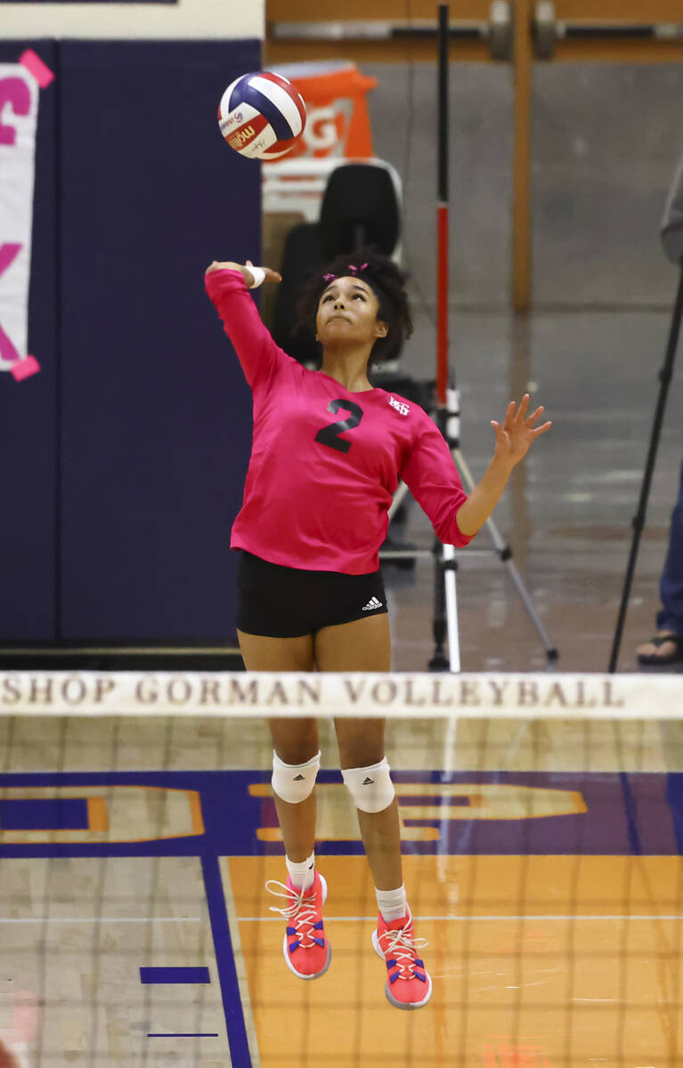 Bishop Gorman's Sophia Ewalefo (2) serves the ball against Silverado during a volleyball game a ...