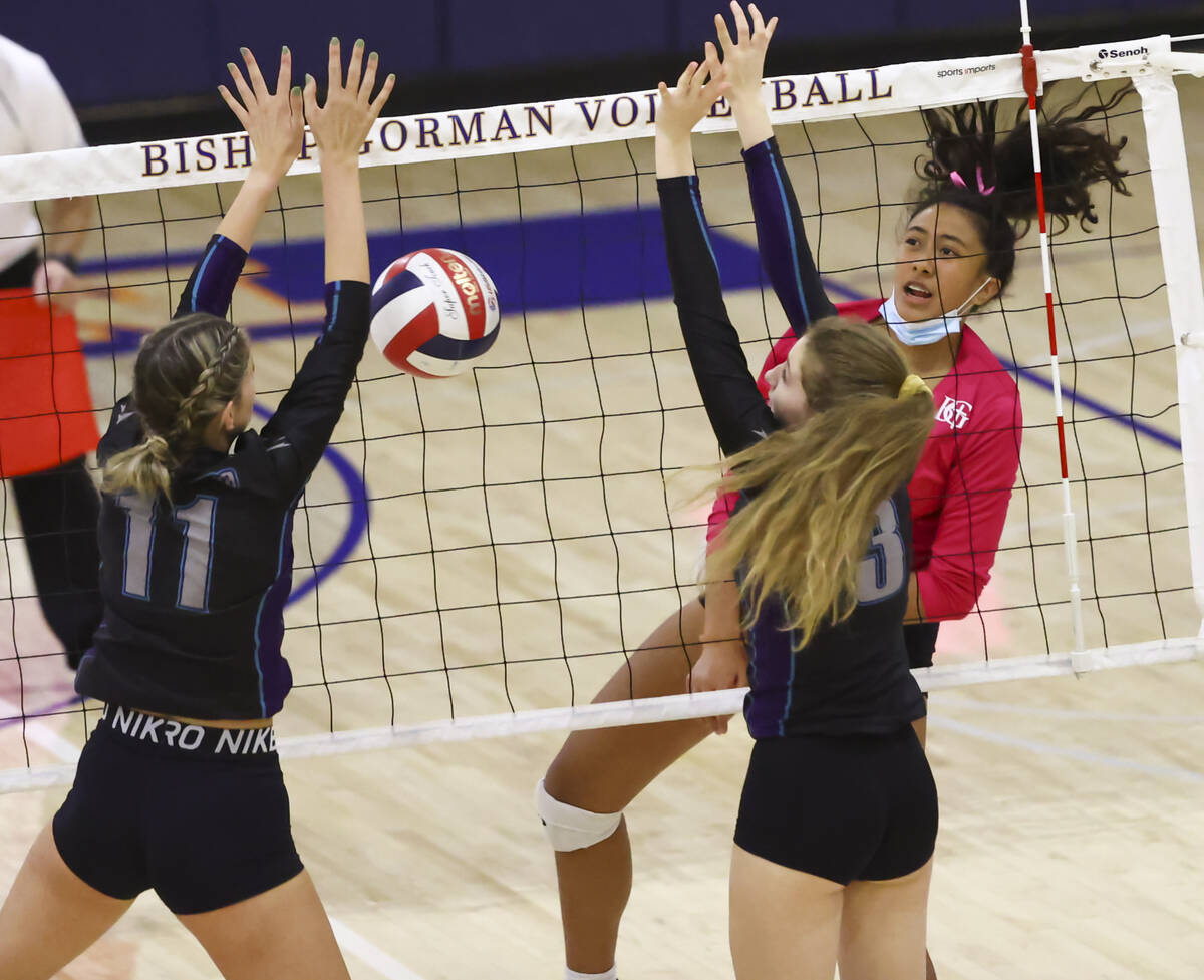 Bishop Gorman's Leilia Toailoa (18) sends the ball between Silverado's Jenna Desellems (11) and ...