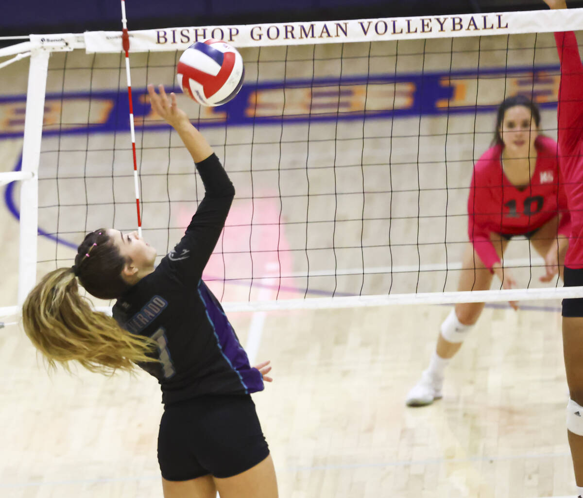 Silverado's Roxy Christensen (7) hits the ball during a volleyball game at Bishop Gorman High S ...
