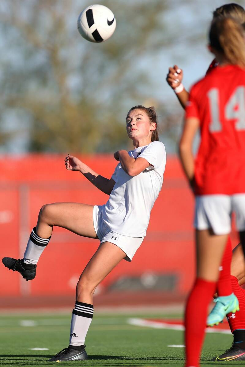 Centennial's Alexandria Neubert (2) takes a shot at the goal against Arbor View during the firs ...