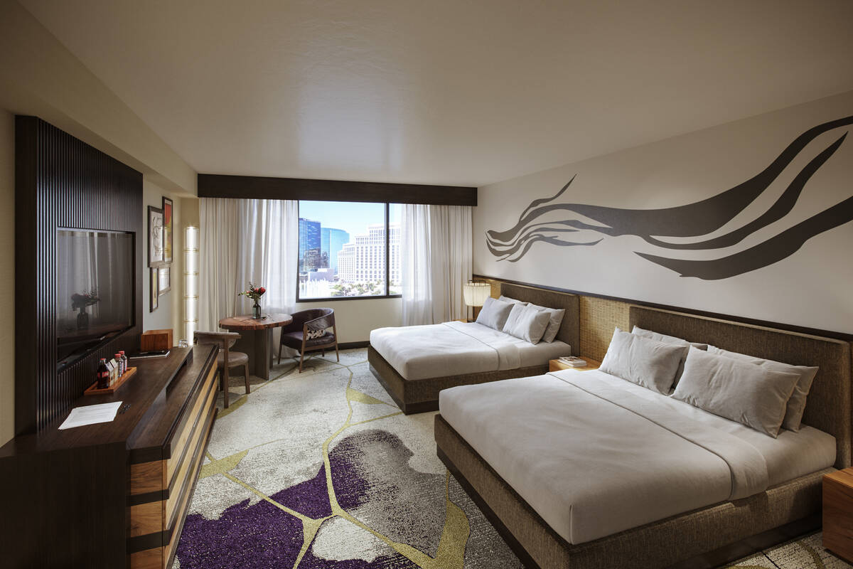 A rendering of a deluxe, two queen bed, room planned for Nobu Hotel Caesars Palace. (Rockwell G ...
