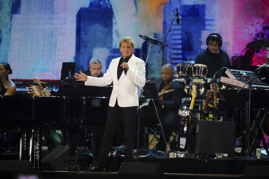 Barry Manilow performs at We Love NYC: The Homecoming Concert at The Great Lawn in Central Park ...