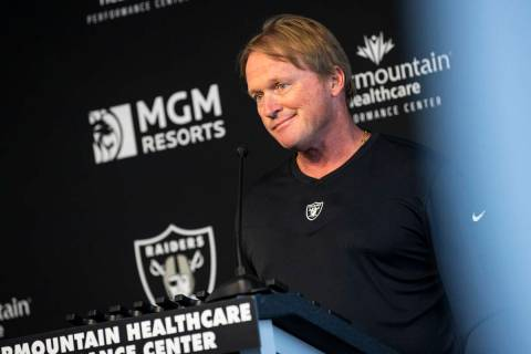 Jon Gruden responds to questions from the media. (Chase Stevens/Las Vegas Review-Journal) @csst ...