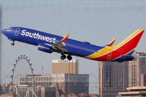 A Southwest Airlines plane takes off from the McCarran International Airport in Las Vegas on Th ...