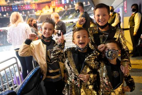 Aiden Godfrey, 7, left, Trysten Tra, 7, second from left, Tyson Tra, 10, top right, and Tatum T ...