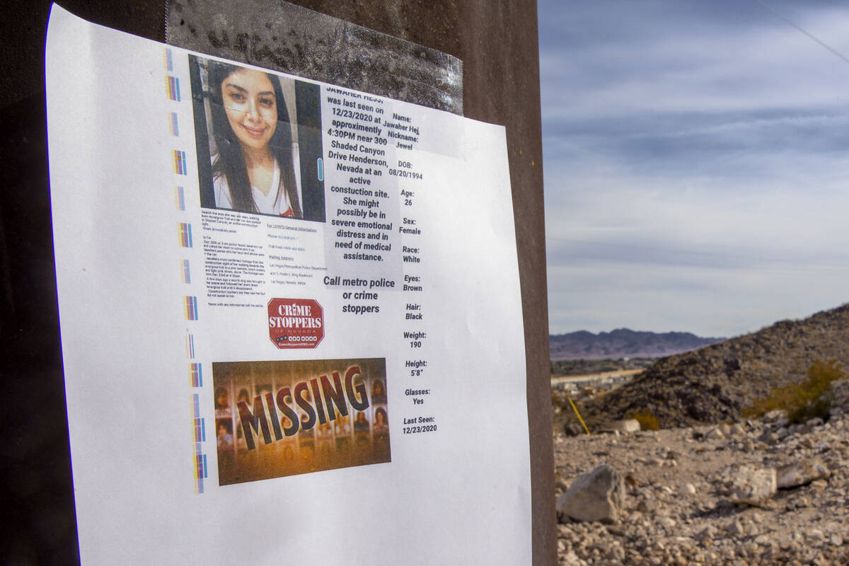 A flyer is posted for Jawaher Hejji on the Amargosa Trail in Henderson on Wednesday, Jan. 6, 20 ...