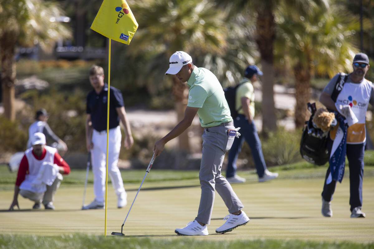 Collin Morikawa prepares to hit a putt on the 18th hole during the CJ Cup Pro AM tournament at ...