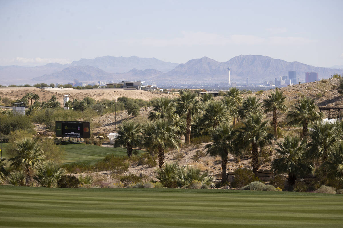 The view from the 18th green at the Summit Club in Las Vegas, Wednesday, Oct. 13, 2021. (Erik V ...