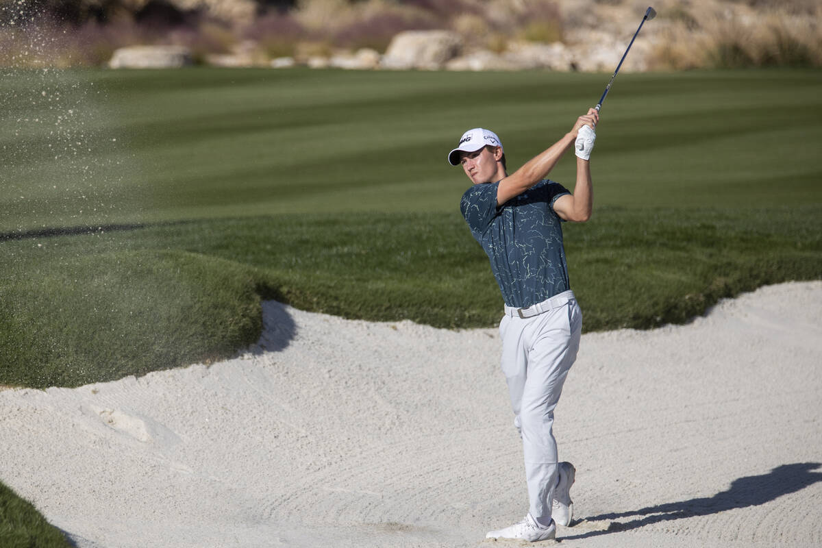 Maverick McNealy hits the ball from a bunk in the 17th hole during the CJ Cup Pro AM tournament ...