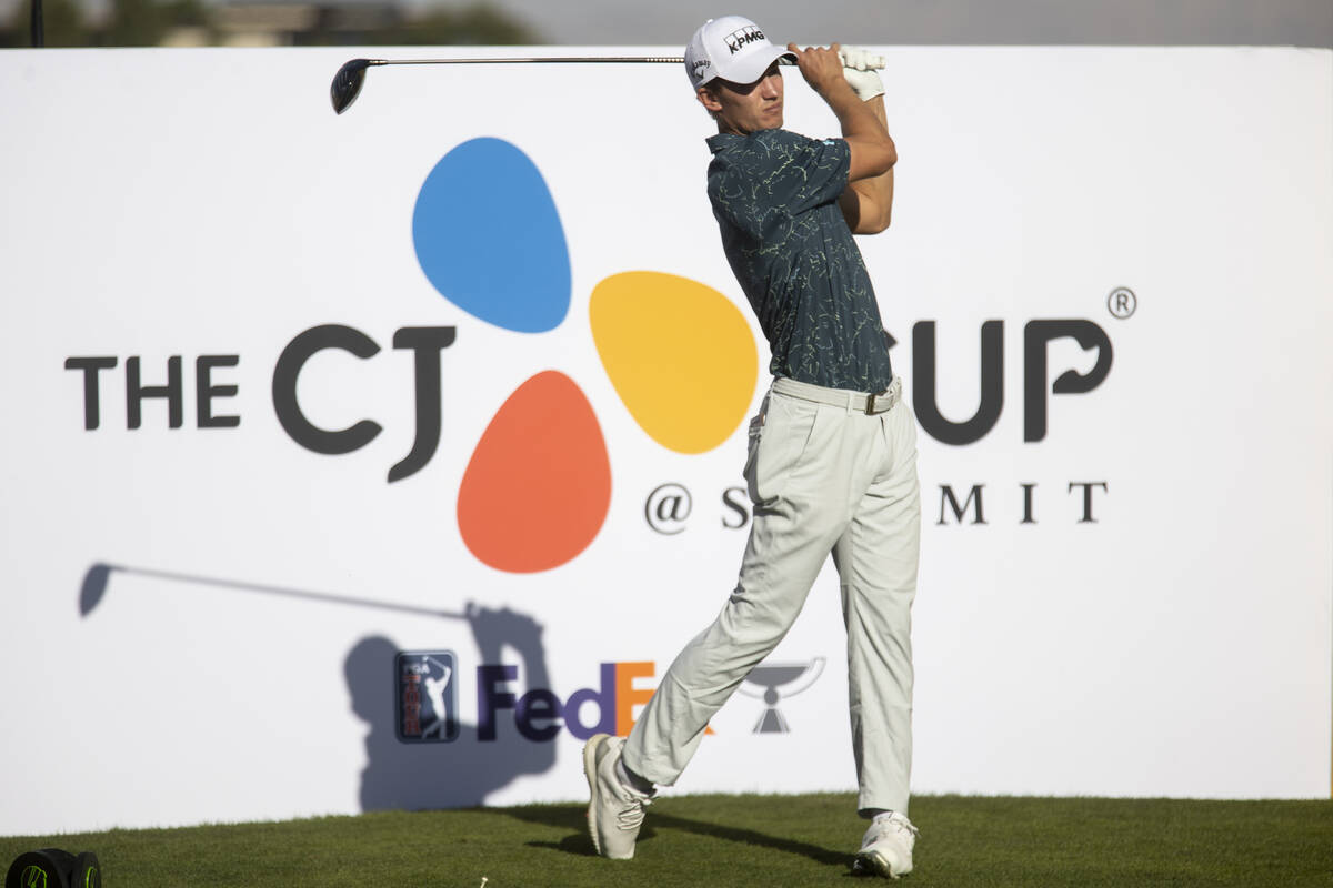 Maverick McNealy hits the ball from the 18th tee box during the CJ Cup Pro AM tournament at the ...