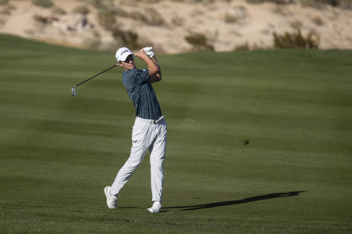 Maverick McNealy hits the ball from the 18th fairway during the CJ Cup Pro AM tournament at the ...