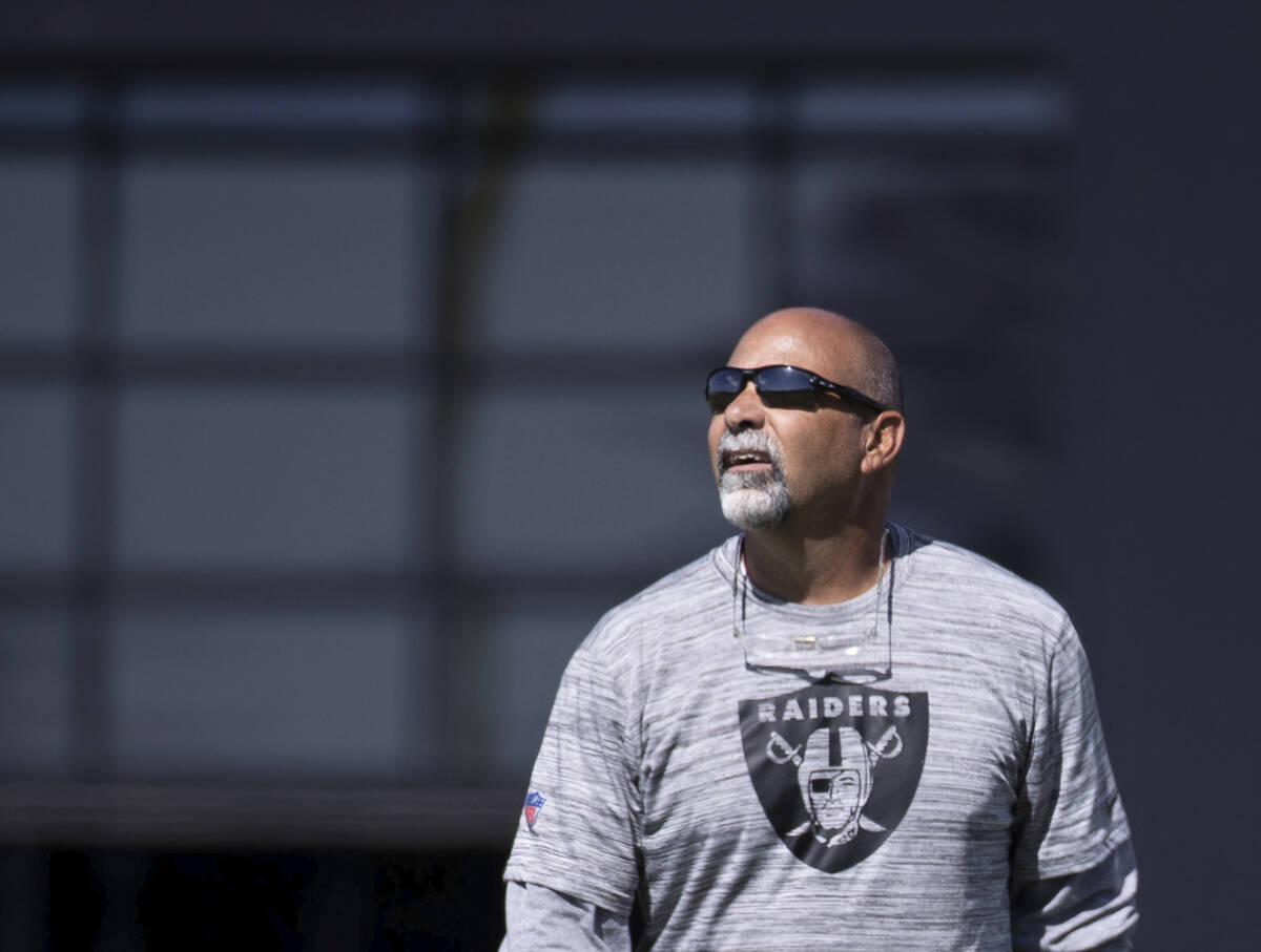 Raiders interim head coach Rich Bisaccia during practice on Wednesday, Oct. 13, 2021, at Raide ...