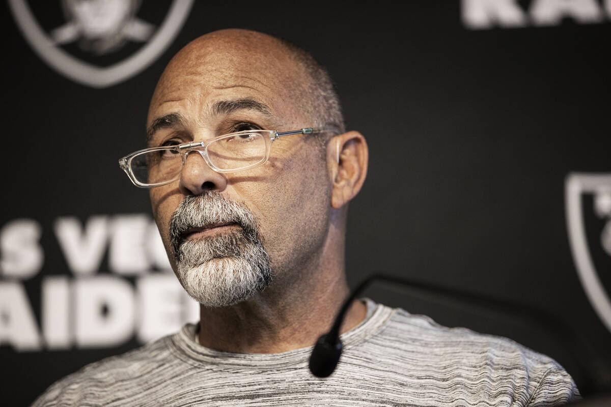 Raiders interim head coach Rich Bisaccia addresses the media after practice on Wednesday, Oct. ...