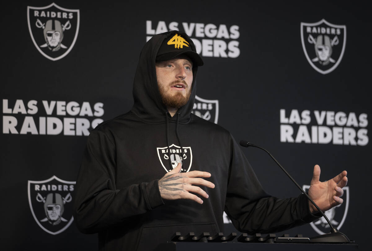 Raiders defensive end Maxx Crosby addresses the media after practice on Wednesday, Oct. 13, 202 ...