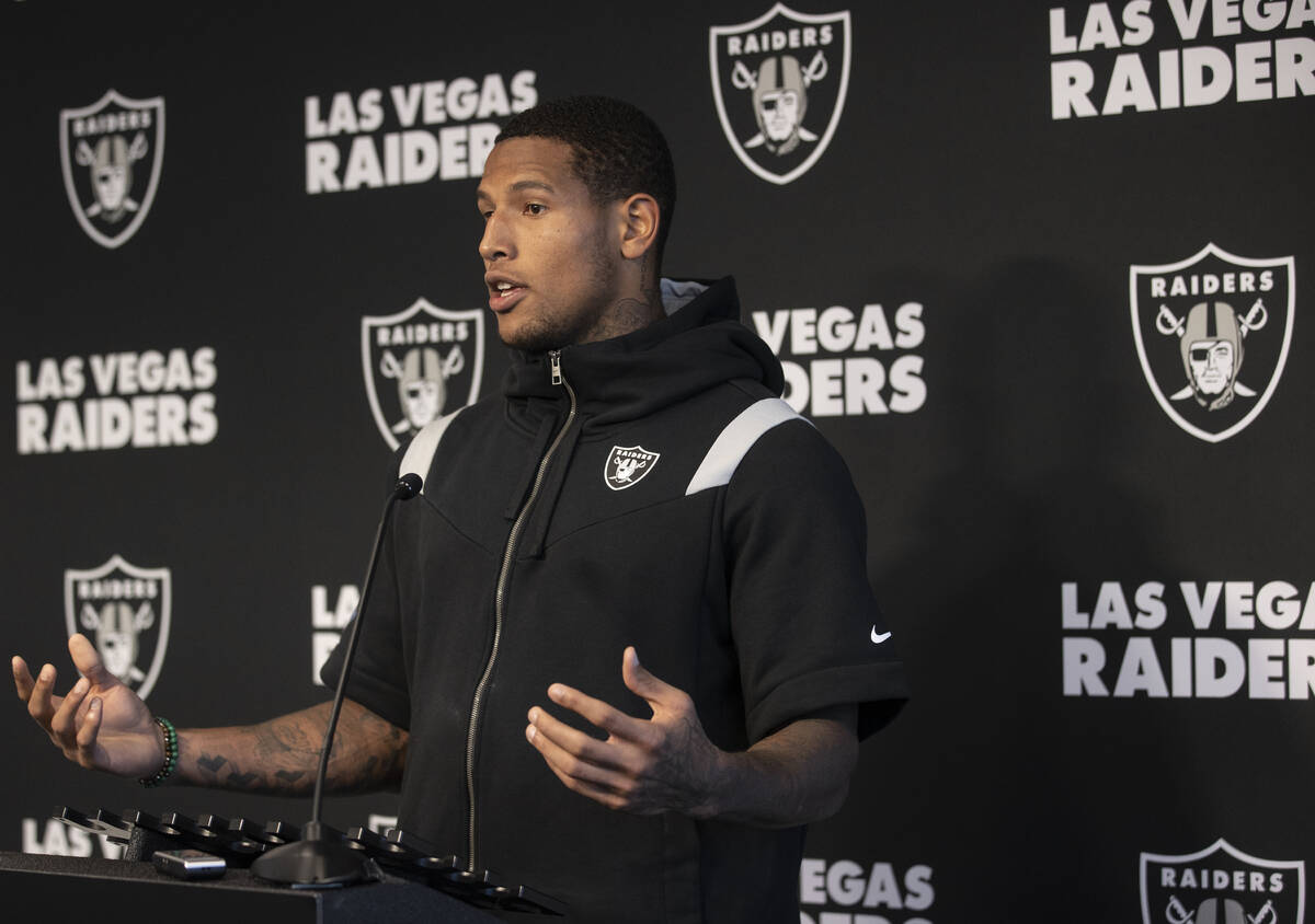 Raiders tight end Darren Waller addresses the media after practice on Wednesday, Oct. 13, 2021, ...