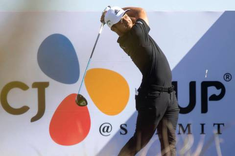 Xander Schauffele hits the ball from the 18th tee box during the CJ Cup Pro AM tournament at th ...