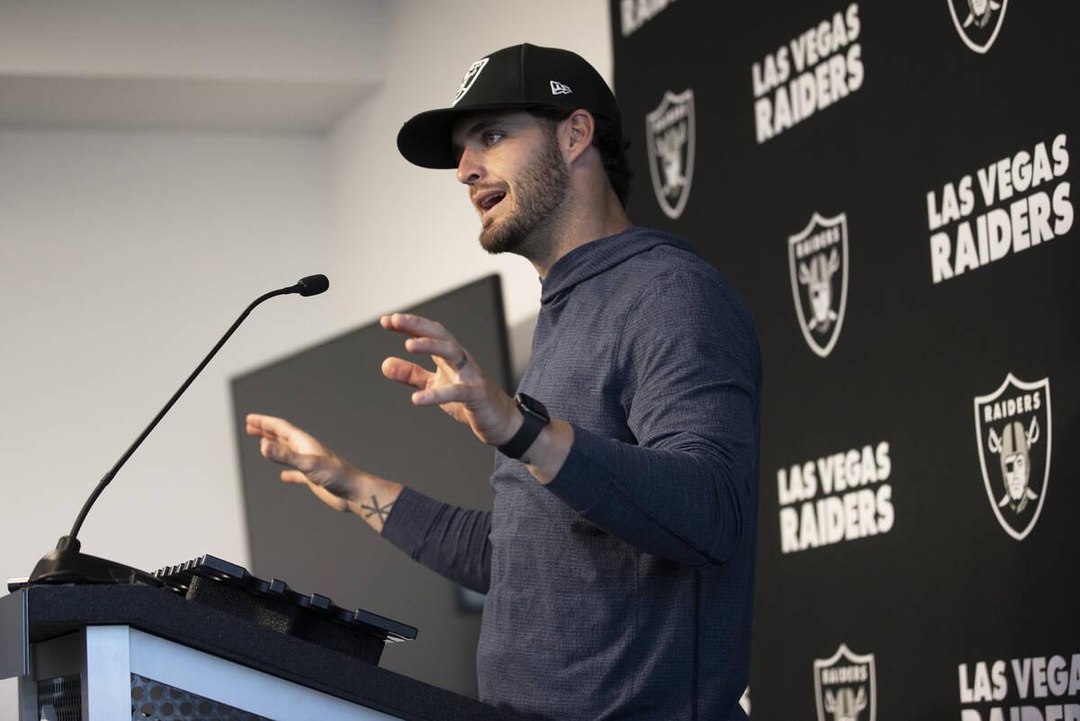 Raiders quarterback Derek Carr addresses the media after practice on Wednesday, Oct. 13, 2021, ...