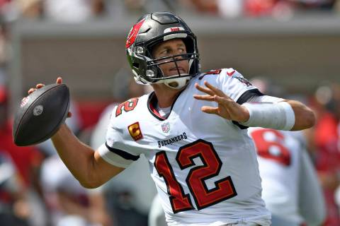 Tampa Bay Buccaneers quarterback Tom Brady (12) throws a pass against the Miami Dolphins during ...