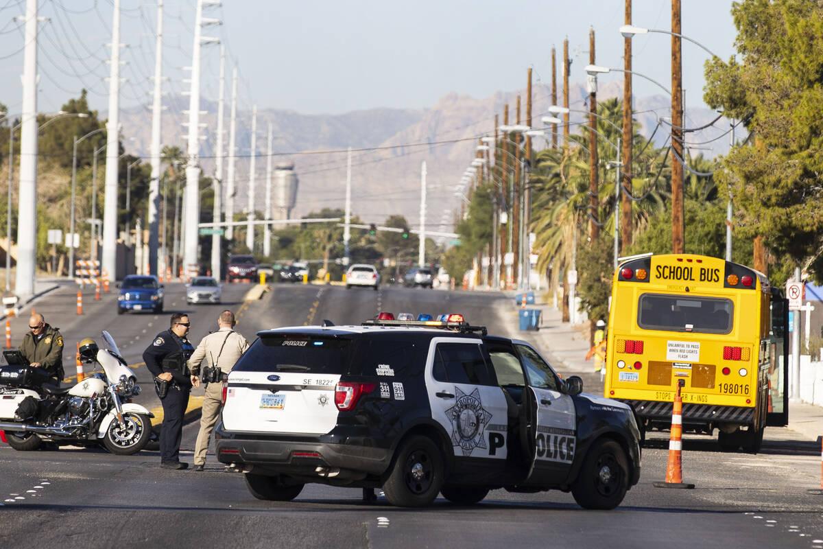 The Las Vegas Metropolitan Police Department is investigating after a Clark County school bus c ...