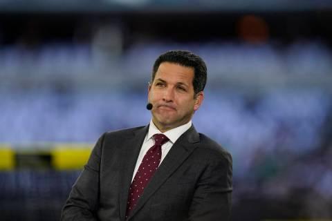 ESPN analyst Adam Schefter is seen on the Monday Night Football set before an NFL football game ...