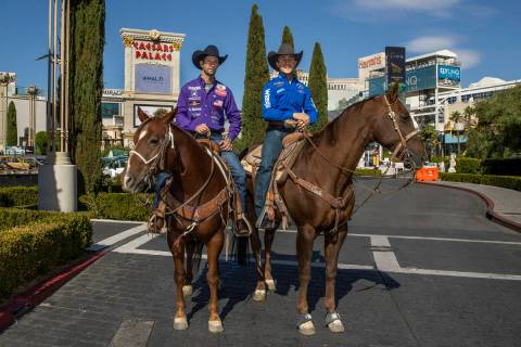 Cowboys Shane Hanchey, left, and Sage Kimzey make the rounds at Caesars Palace to promote the u ...