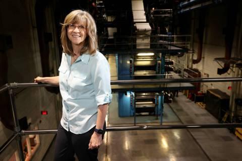 Las Vegas Review-Journal Prepress Manager Julie Herron at the RJ Thursday, April 15, 2021. (K.M ...