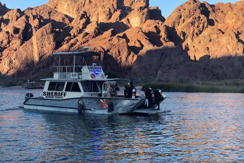 A Mohave County water rescue boat at the scene of an apparent double drowning on the Colorado R ...