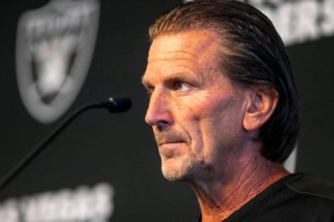 Raiders offensive coordinator Greg Olson speaks to media after practice at the Raiders Headquar ...