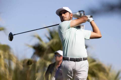 Abraham Ancer hits the ball from the 12th tee box during the third round of the CJ Cup golf tou ...