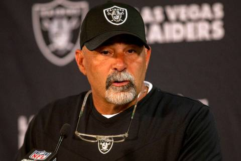 Raiders interim head coach Rich Bisaccia answers questions after an NFL football game against t ...