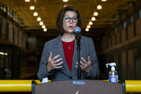 Sen. Catherine Cortez Masto, D-Nev., speaks about her efforts to combat drought in Southern Nev ...