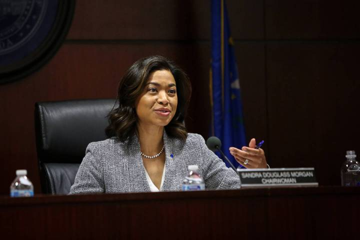 Sandra Morgan, chairwoman of the state Gaming Control Board, speaks during a board meeting at t ...