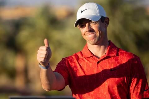 Rory McIlroy gestures after winning the CJ Cup golf tournament at the Summit Club in Las Vegas, ...