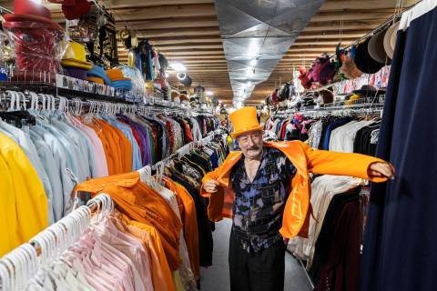American Costumes owner Martin Howard at his store in Las Vegas on Tuesday, Oct. 19, 2021. (Ben ...