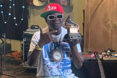Flavor Flav is shown with his Grammy Lifetime Achievement Award on Friday, Aug. 28, 2020, at St ...