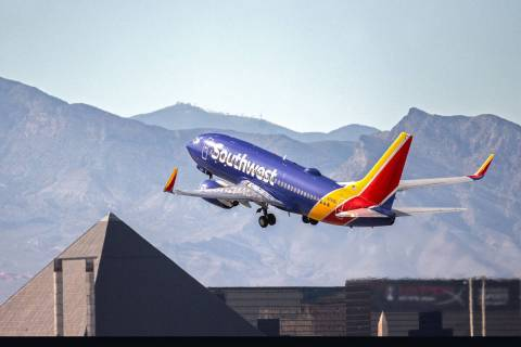 In this March 31, 2020, file photo, a Southwest plane takes off from McCarran International Air ...