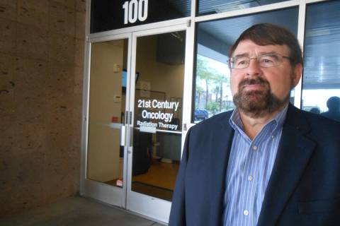 """John Romas of Summerlin, father of """"Sexxy"""" creator Jennifer Romas, stands outside the offices o ..."""