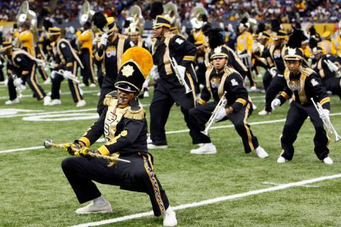 Grambling State's band performs during halftime of their NCAA Bayou Classic NCAA college footba ...