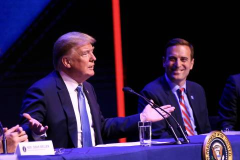 President Donald Trump speaks during a roundtable discussion with Nevada Attorney General Adam ...