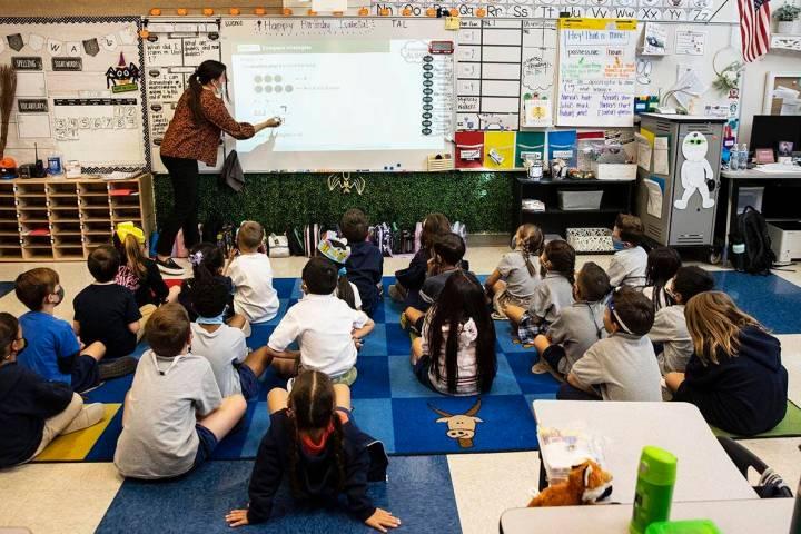 Mia McLean, a first grade teacher at Pinecrest Academy Inspirada, teaches, on Monday, Oct. 11, ...