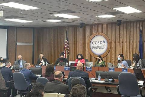 The Clark County School Board meets Thursday, Oct. 14, 2021, at the Greer Education Center in L ...