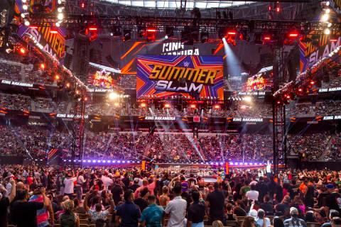 Fans celebrate as King Nakamura arrives during WWE SummerSlam 2021 at Allegiant Stadium on Satu ...