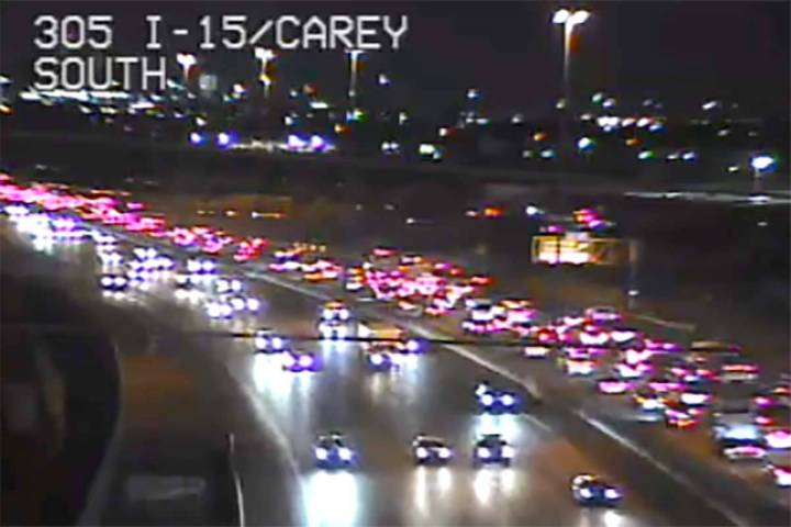 The RTC said all commuters on I-15 southbound should prepare for delays Monday morning and cons ...
