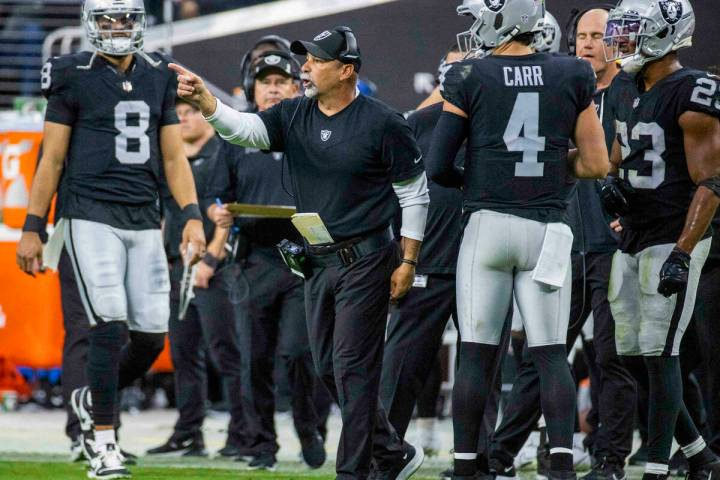 Raiders interim head coach Rich Bisaccia makes another call from the sidelines over the Philade ...