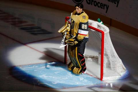 Goaltender Marc-Andre Fleury. (Chitose Suzuki / Las Vegas Review-Journal) @chitosephoto