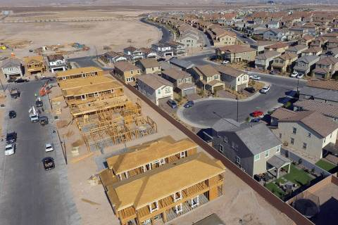An aerial view of new homes under construction near Democracy Drive and Palindrom Avenue, on Fr ...